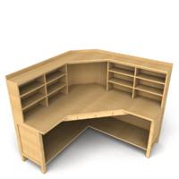 3d model office table corner