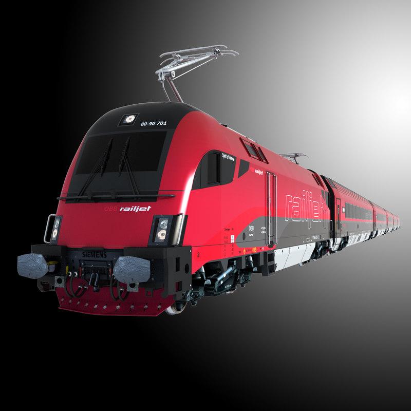 3d model railjet car locomotive