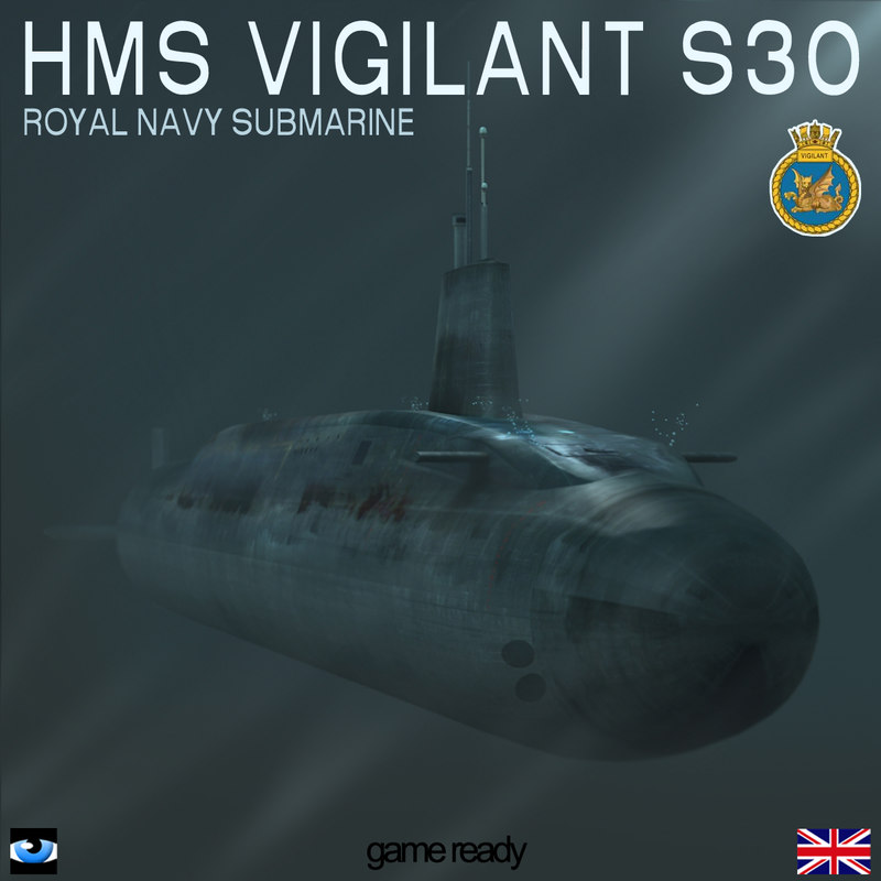 3d hms vigilant s30 submarine model