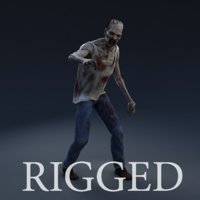 zombie character rig 3d model