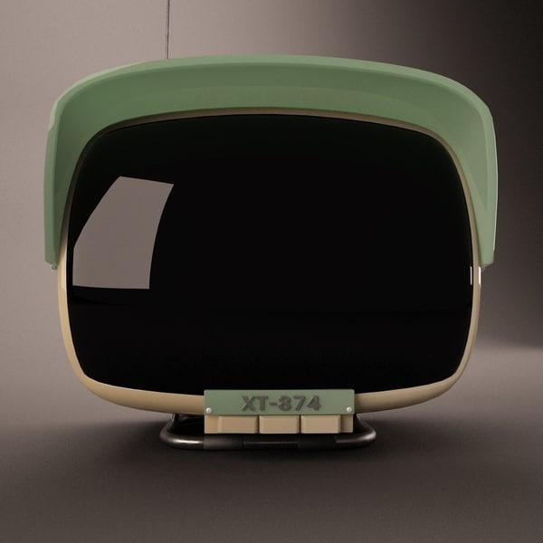 vintage television set 3d c4d