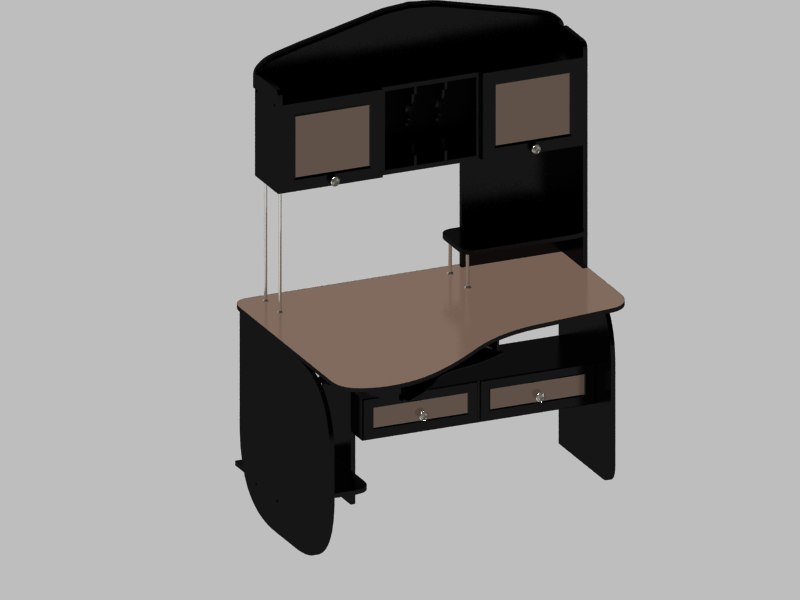 3d model desk computer