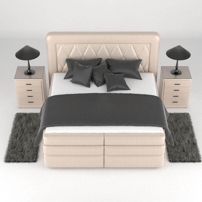 boxspring bed 3d max