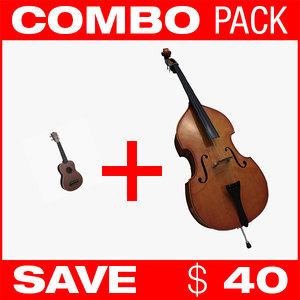 combo contrabass ukulele 3d max