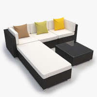 Outdoor Lounge Furniture Set - Corner, armless, ottoman, coffee table