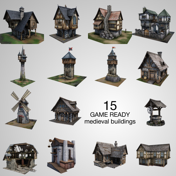 3ds medieval buildings