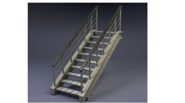 3d model simple staircase