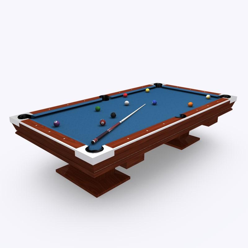 arch legged pool table 3d model