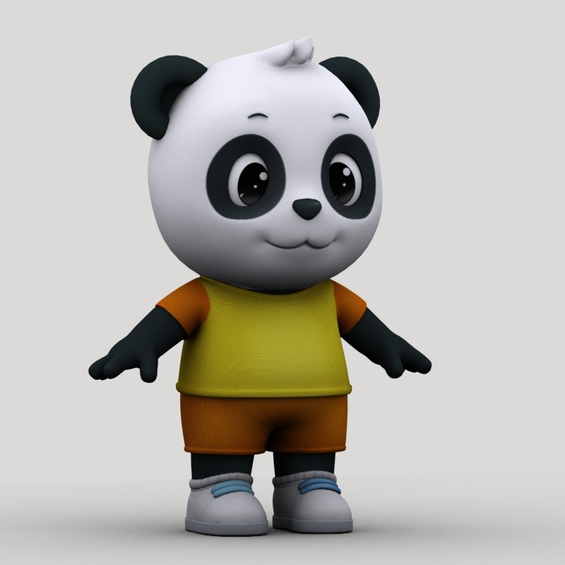 cartoon panda 3d max