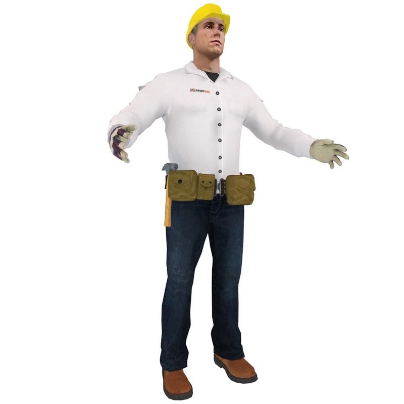 3d model worker man hammer