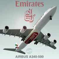 3d airbus a340-500 emirates