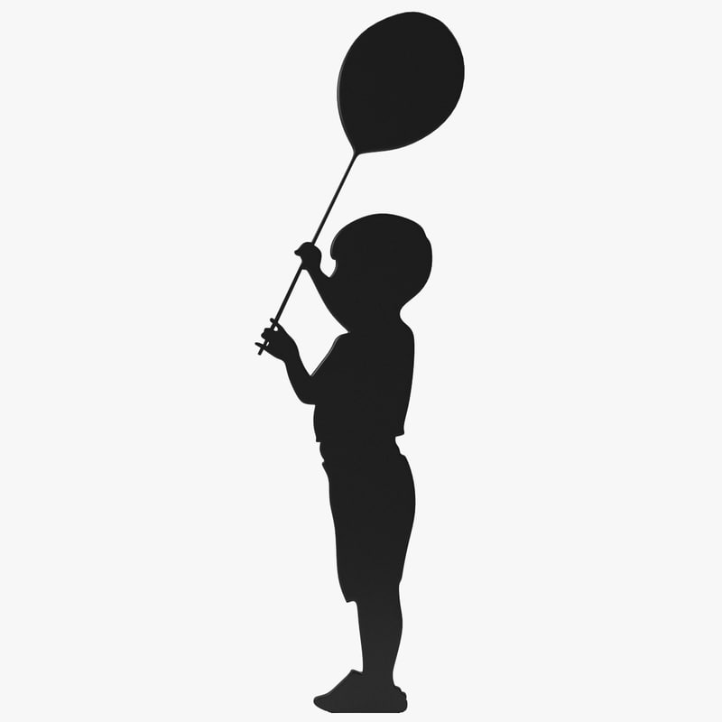 child balloon silhouette 3d model