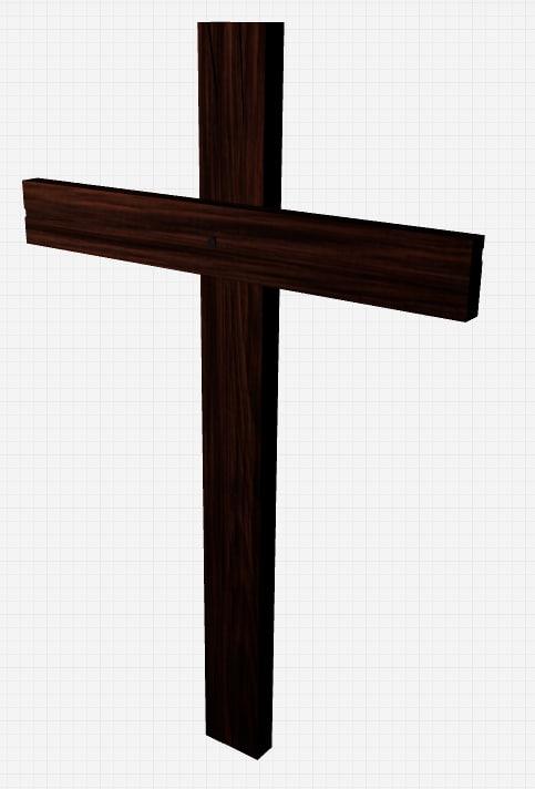 free wooden cross 3d model