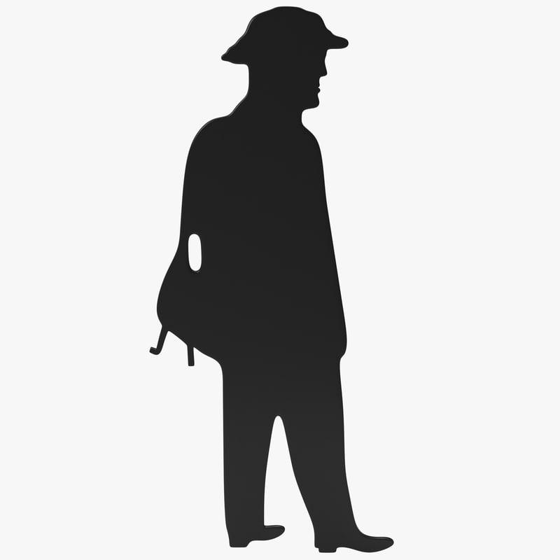 3d model man hat silhouette