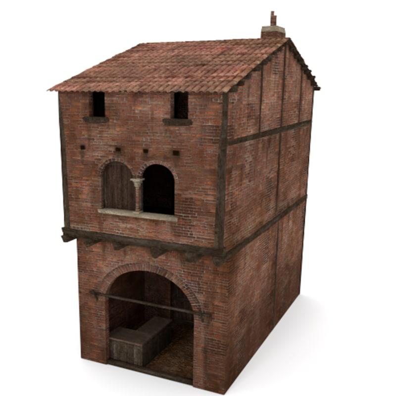 italian medieval house 3d 3ds