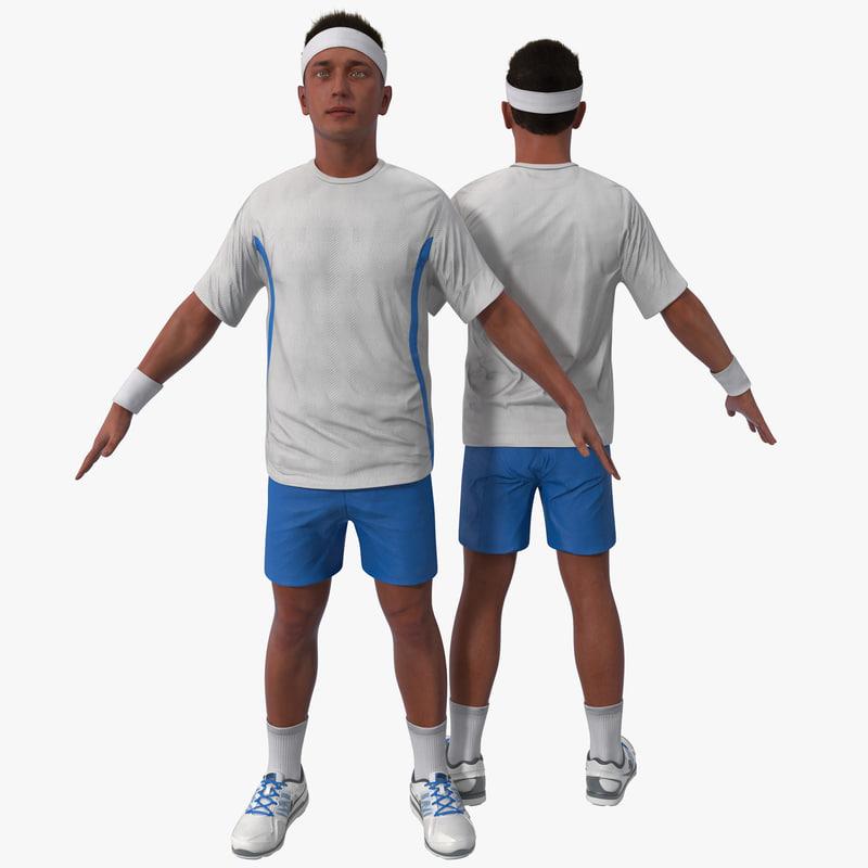 3d tennis player 3 version model