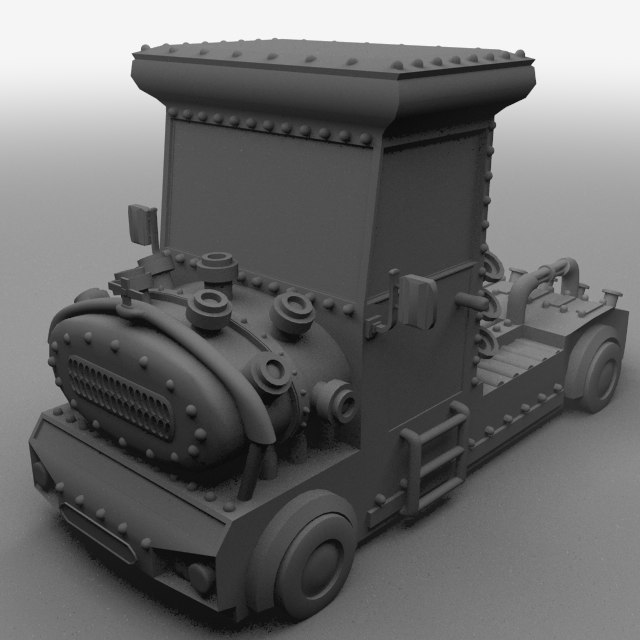 3d model truck comical steampunk
