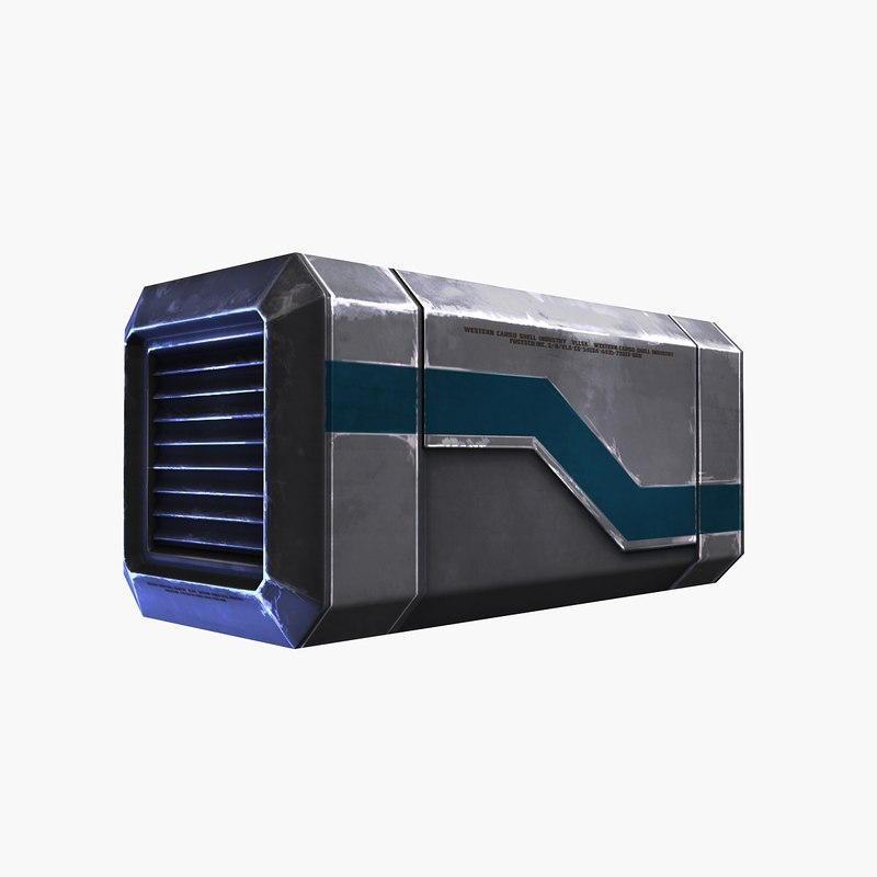 3d sci-fi container blue