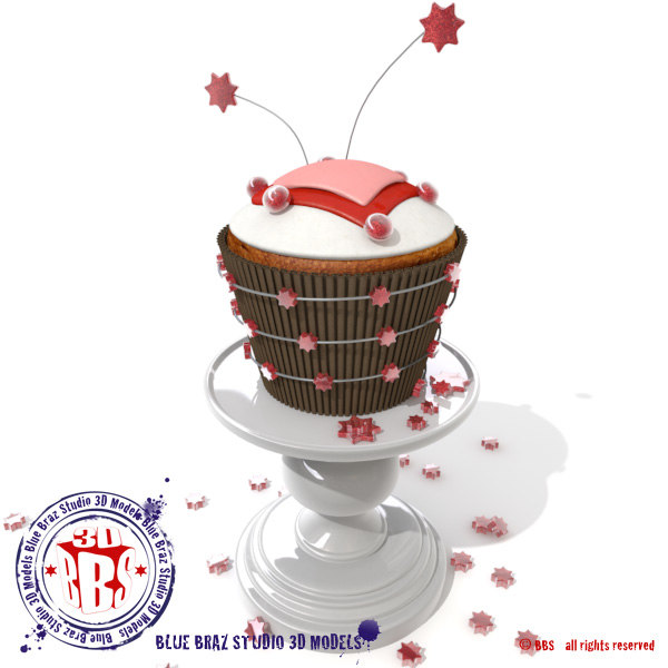 valentine cupcake hearts stars 3d model