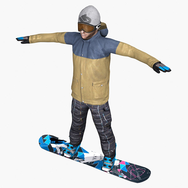 realistic snowboard gameready 3d max