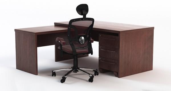 corner office desk 3d 3ds