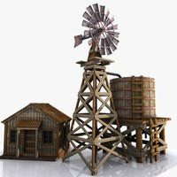 Cartoon Western Building 11 (Windmill & Watertank)