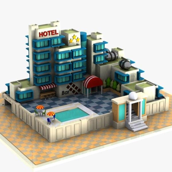 cartoon hotel toon 3d model