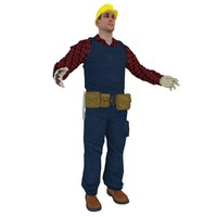 3d man worker man model