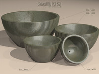 3d model set glazed ribbed pots