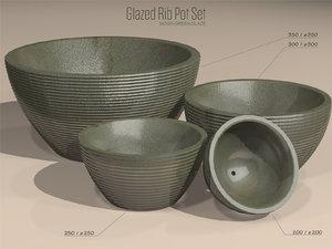 3d model set glazed ribbed pots