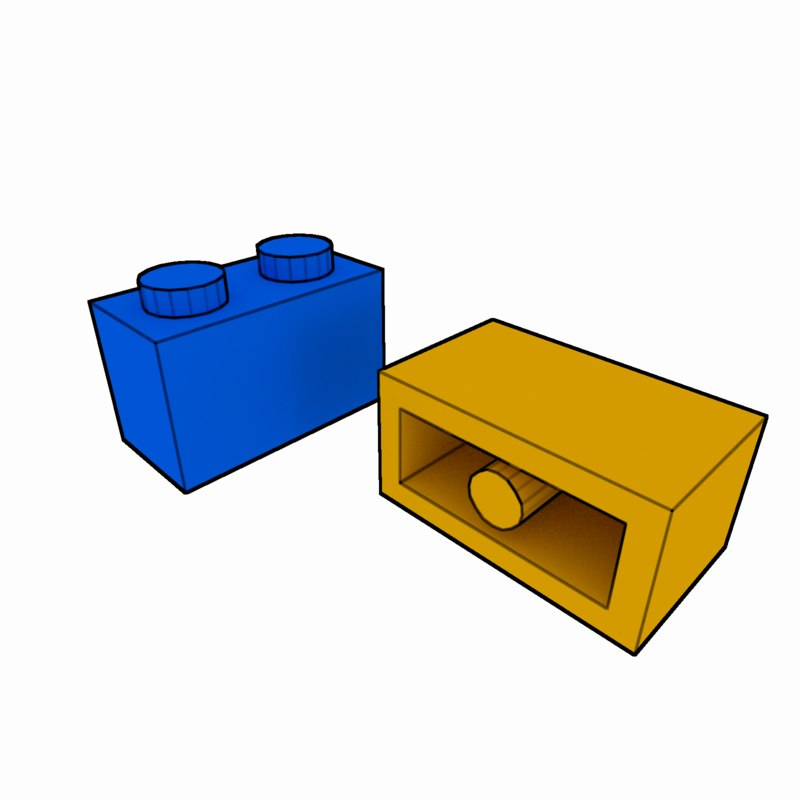 3d piece lego brick 1x2
