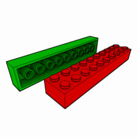 piece lego brick 2x10 3d obj