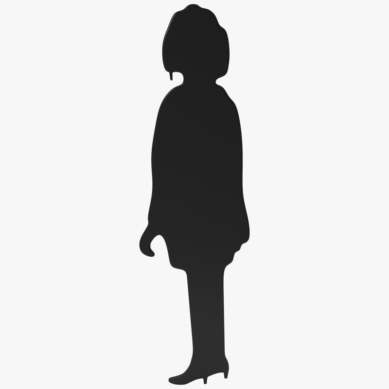 woman coat silhouette 3d model