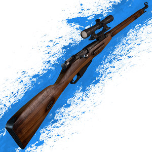 3ds max mosin nagant 1891-30 rifle scope