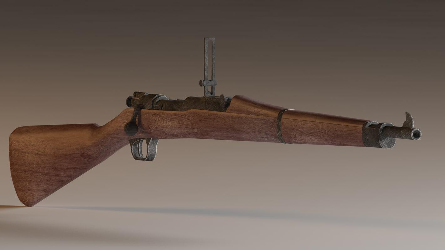 3d model of m1903 springfield rifle