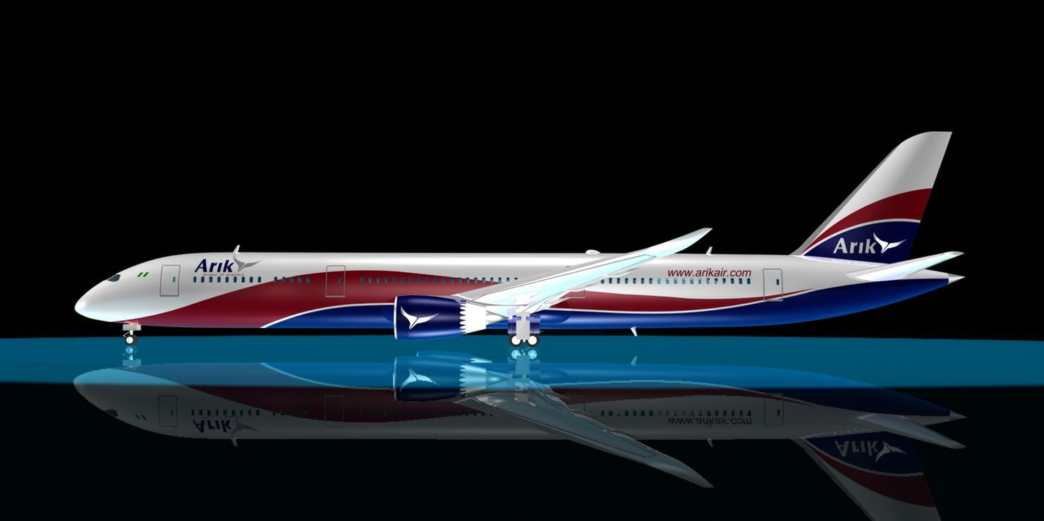 3d model arik air 787-9 dreamliner