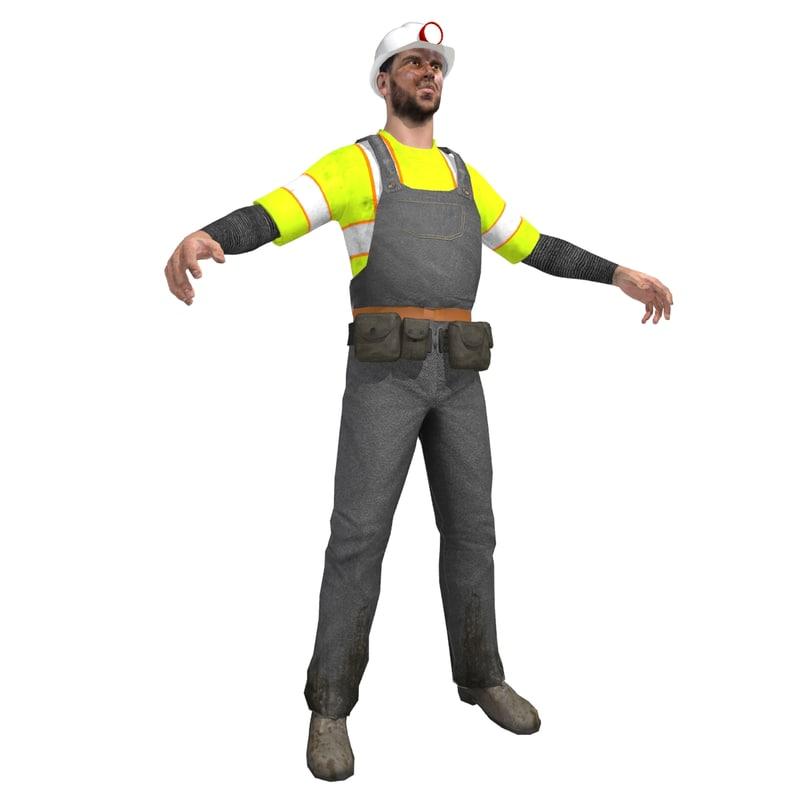 3d miner man model