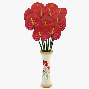 anthurium vase 3d max