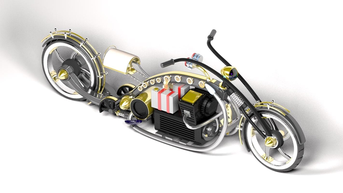 3d model steampunk choper