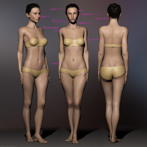 anna basic female body woman 3d max