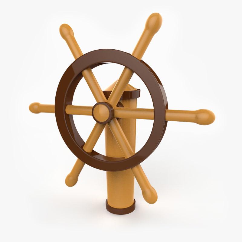 fbx cartoon ship wheel