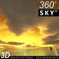 sky clouds 360 3d 3ds