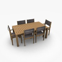terrace table chairs 3d model
