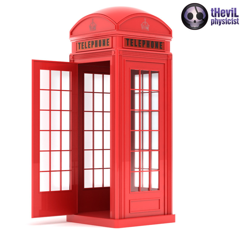 3d max phone booth red