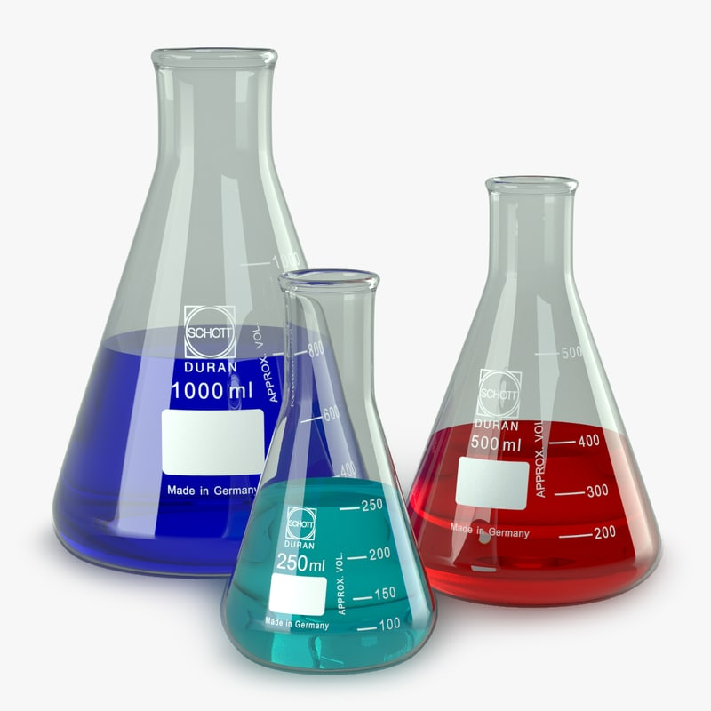 erlenmeyer lab flasks 3d max