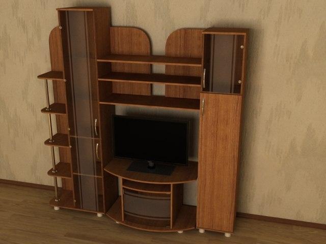 3d model wall room tv