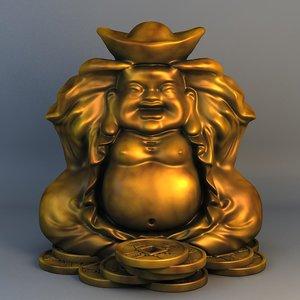 3d model of buddha bronze statue