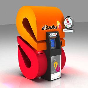 3d bank atm kiosk model