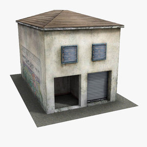 c4d low-poly hut