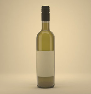 3d model wine bottle render setup